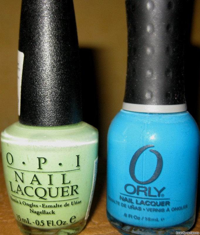 Лаки OPI Gargantuan Green Grape и ORLY Blue Collar